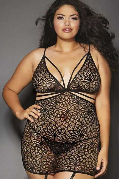 Queen size garter slip dress | bella curves lingerie