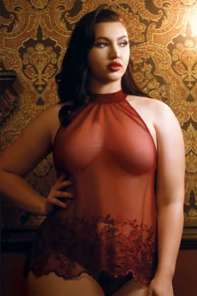 Leisy sheer red Cami and matching panty