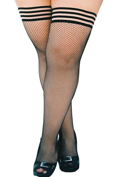 Kixies fishnet plus size stockings