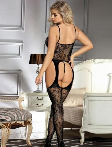 sexy bodysuit - black floral fishnet