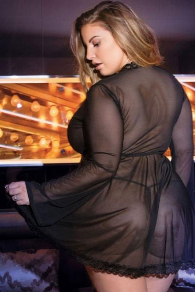 Ava mesh plus size babydoll - bella curves lingerie