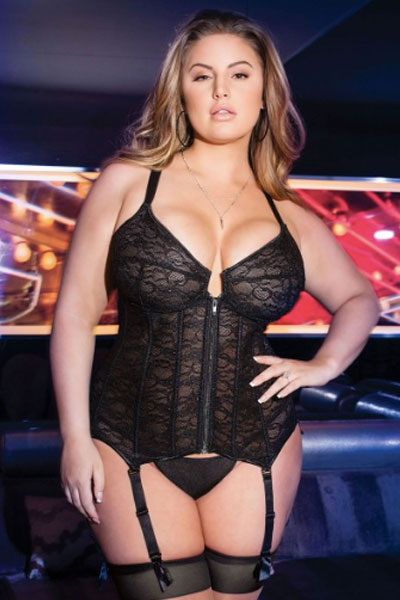 midnight plus size bustier - bella curves lingerie