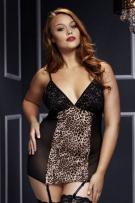Plus size leopard & Lace chemise, size 16-22