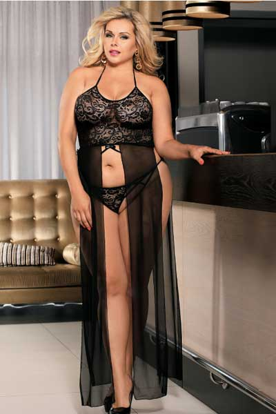 Plus size elegant black lace and mesh gown