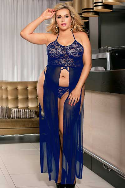 plus size elegant lace and mesh gown electric blue