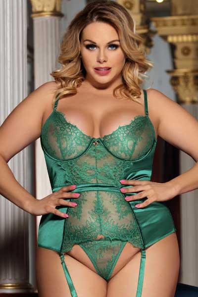Plus size Jada Bustier - Jade Green