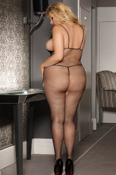 Queen size black fishnet bodystocking