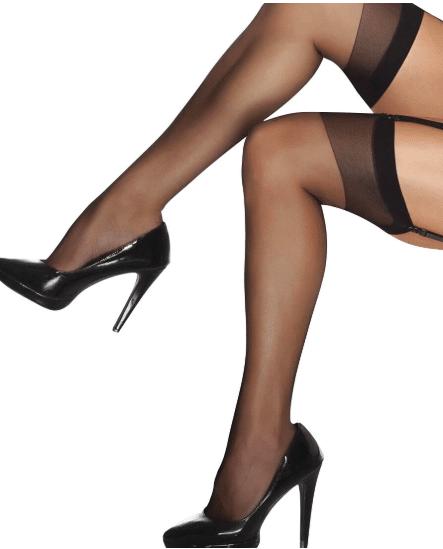 Black sheer thigh high stockings os/xl