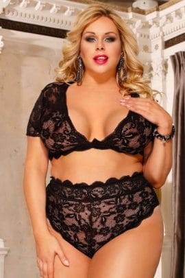 plus size crop and knickers - guilty pleasures, bella curves lingerie